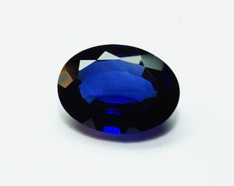 60% OFF  - Faceted Blue Sapphire Faceted Stone Oval Cut Gemstone Size 20x15x8.5 mm Large Sapphire Lab Created Sapphire Stones