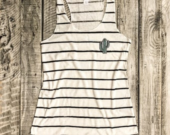S-XL CACTUS Patch on Ivory/Black Stripe Racerback Tank, Alternative Apparel, Graphic Tee, Screenprint,Gym Shirt,Funny Shirt
