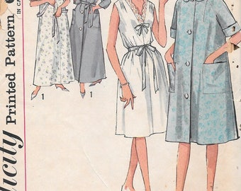 Vintage 1960s Simplicity Sewing Pattern 5001 - Misses' Nightgown and Robe in two lengths size Medium 14-16 uncut FF