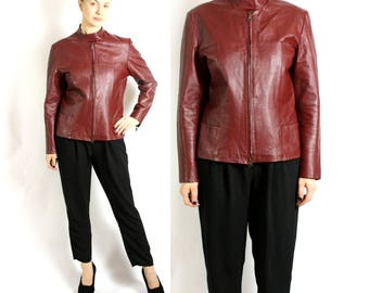 Vintage 90's Red Burgundy  Real Leather Jacket Moto Motorcycle Bicker Racer - Large