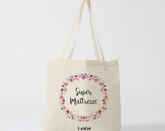 Master W129Y Tote bag personalized teacher canvas tote bag in cotton, super tote bag centerpiece, gift bag, school bag, canvas bag