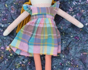 Cloth Doll with Marigold Yellow hair Pinafore dress