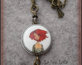 Necklace young woman porcelain bead
