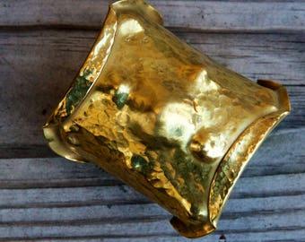 Brass Folded Cuff Bracelet