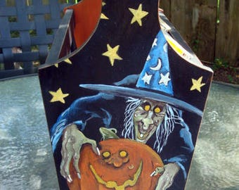 Vintage hand painted Halloween magazine wood holder!  OOAK!