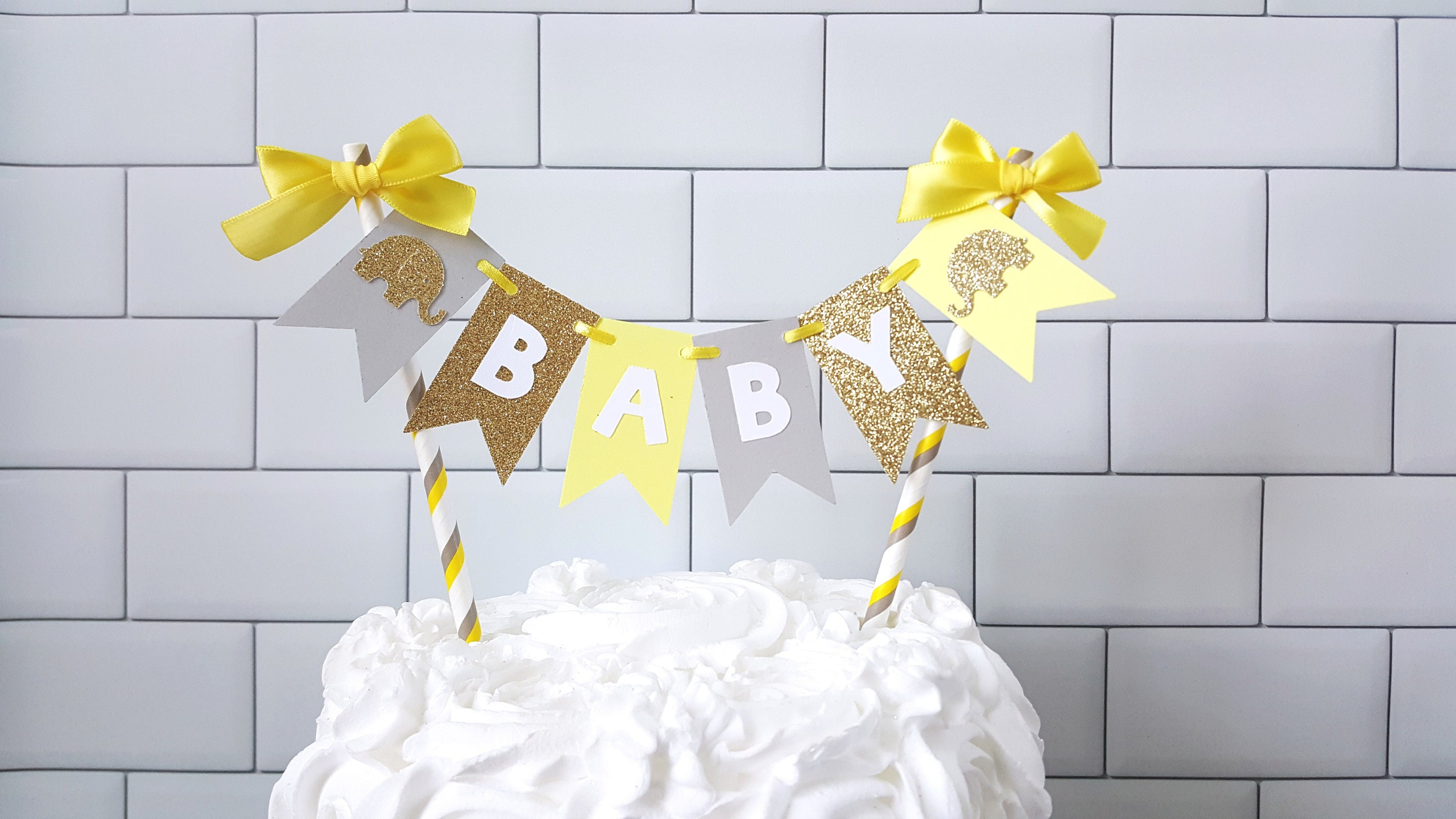 Yellow Gray Elephant Baby Shower Cake Topper Yellow Gray Baby
