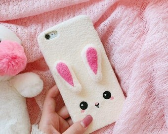 Fluffy Cute Kawaii Rabbit iPhone 6 6S 7 8 Plus Phone Case
