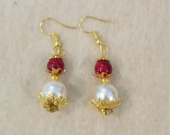 Red and White Pearl Earrings with gold spacers