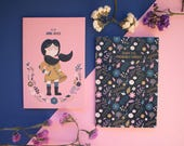 Girl Boss Pocket Notebooks - Set of Two Lined/Plain A6 Notebooks- Girl Power Funny and Inspiring Stationery  | Illustrated  A6 Notebook |