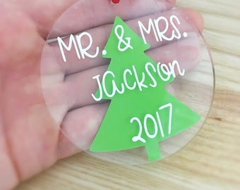Our first christmas ornament - Personalized Ornament - first christmas married - newlywed christmas gift - acrylic ornament - vinyl decal