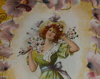 1890 Antique Victorian Valentine Card Lovely Lady Surrounded by Pansies - Forget Me Not