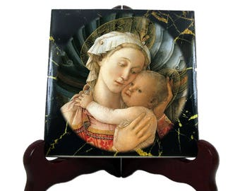 Madonna and Child by Filippo Lippi - religious icon on tile - Virgin Mary art - religious gifts - religious art - catholic gifts - holy art