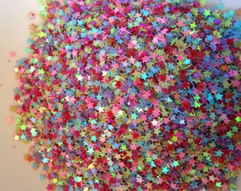 10g Mixed Colour tiny Star Sequins, 3mm. Ideal for shaker card making and other projects