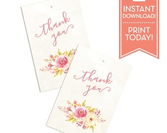 Printable Party Favor Tags - Thank You Tags - Wedding Favor Tags - Gift Tags - Watercolor Floral - Wedding - Instant Download - LR1071
