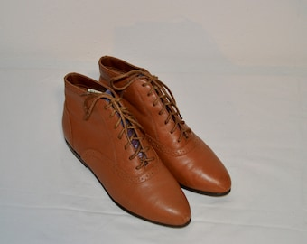 Women Size 6 New Vintage 80s Cherokee Brown Ankle Boots