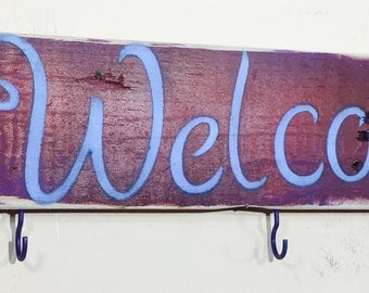 Rustic pallet wood signs/ wooden welcome sign with 5 colorful coat hooks /key rack wall hanging organizer/ reclaimed wood decor  dragonflies