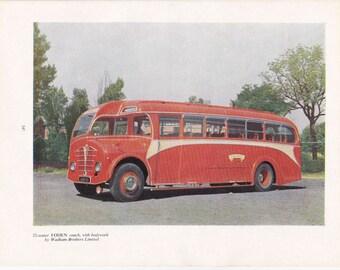 50s ad British Foden coach red bus transport Austin veteran car motoring vintage print illustration home office décor gift for him car lover