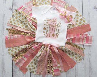 Twinkle Twinkle Little Star First Birthday Outfit with Pink and Gold Fabric Tutu- star headband, girl first birthday outfit, pink gold tutu