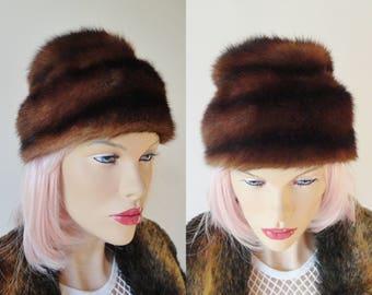 Black Brown Mink Fur Vintage Hat // Size 55