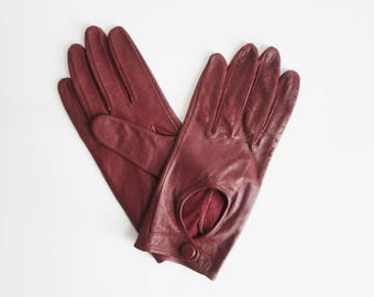 Burgundy Vtg. Leather Driving Gloves // Size 6,5/7 - Medium