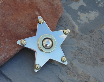 Mexican Sterling Silver Star Pin / Brooch with Brass Highlights