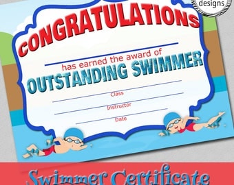 """Swimmer Certificate, Swim Lessons Award, Instant Download, 8.5x11"""" Word & PDF"""