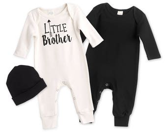 Newborn Little Brother Coming Home Outfit, Black White Baby Outfit, Baby Boy Little Brother Minimalist Romper TesaBabe RS81IY81BK63BK-LB