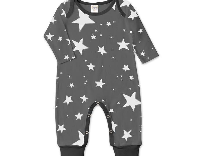 Newborn Baby Boy Coming Home Outfit Summer, Baby Boy Stars Gray Romper, Baby Girl Star Romper Minimalist Stars Romper Tesa Babe