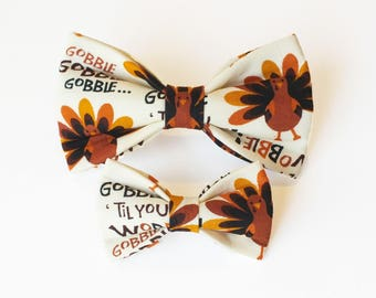 Gobble til you wobble Thansgiving dog bow tie ONLY, bow tie, fall, wedding, dog collar bow tie, autumn