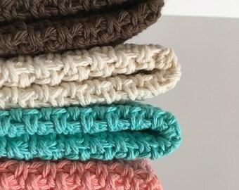 Crochet Dishcloth - Large Crochet Washcloth  - 100% Cotton - Gifts for Her - Bath Set - Spa Set - Beach Inspired Washcloths - Set of 3