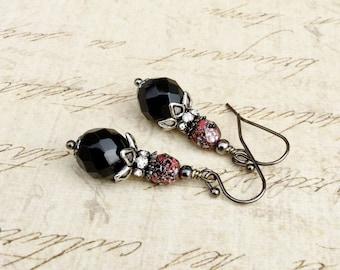 Black Earrings, Gunmetal Earrings, Red Earrings, Black and Red Earrings, Czech Glass Beads, Unique Earrings, Black Dangle Earrings, Gifts
