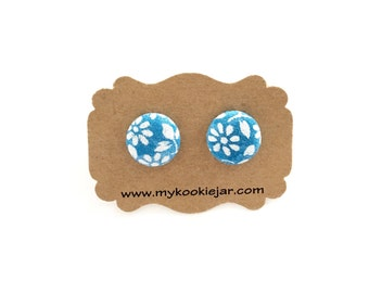 Blue Floral Button Earrings, Blue White Floral Fabric, Fabric Button Earrings, Girl's Earrings, Floral Studs, Handmade Floral Earrings