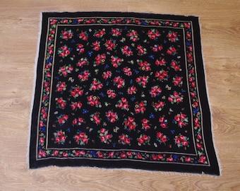 Vintage Black Cracow Folk Scarf Polish neckerchief Folk peasant scarf Small Roses Flowers Floral neckcloth wool Babushka 80's Bohemian Boho