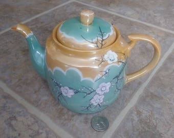Lusterware Teapot, Japan Teapot, Turquoise Teapot, Teal Blue Teapot, Vintage Teapot, Porcelain Teapot, Small Tea Pot, Peach Teapot, Gift