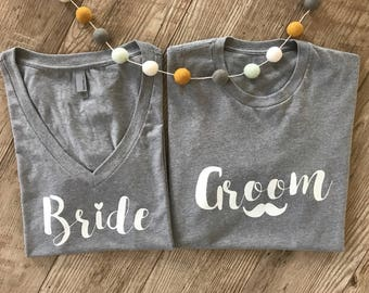 Bride and Groom Shirt Set • Wifey Hubby Shirts • Newly Wed Gift • Bridal Party Shirts • Wedding Gifts • Mustache Groom • Wedding Day Tees