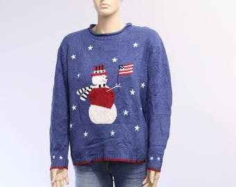 Snowman Vintage Sweater, American Flag Vintage Christmas Sweater, Holiday Sweater, Ugly Sweater Party, Ugly Christmas Sweater, Tacky Sweater