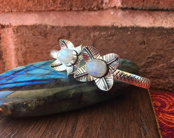 Beautiful Rainbow Moonstone Sterling Silver Overlay Bangle Bracelet Arm Cuff Tribal Boho Festival Healing Crystals Gemstones