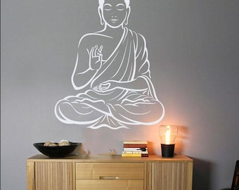 Buddha Wall Decor Om Wall Art Decal Yoga Wall Art Decal Indian Wall Decal Buddha Wall Decal Buddha Statue Art Religious Buddha Wall Sticker