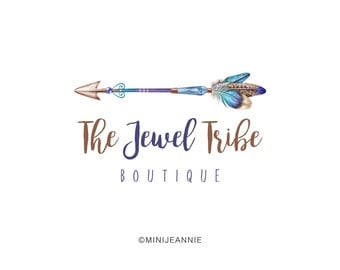 Arrow Logo-Boho Logo-Etsy logo-Watercolor Logo-Feather Logo-Business Logo-Branding package-Blog Logo-Premade logo-Free Font Change