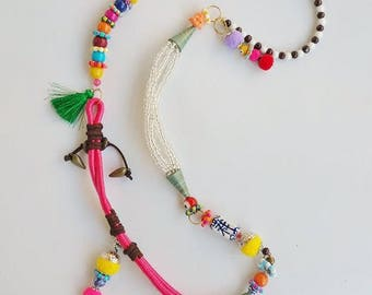 Boho, Ethnic jewelry, Hippie necklace, Beach necklace, Rainbow necklace, original jewelry, beaded necklace, Gypsy jewelry, tassel necklace