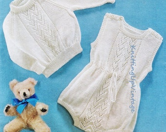 """Baby Knitting Pattern pdf Baby Romper Suit and Jumper 18 and 20"""" chest 4 ply"""