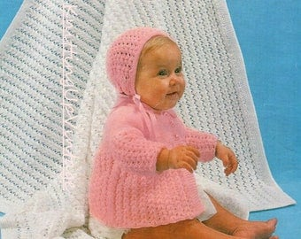 """Baby Knitting Pattern pdf Vintage Shawl, Matinee Coat and Bonnet 18-20""""  Double Knit"""