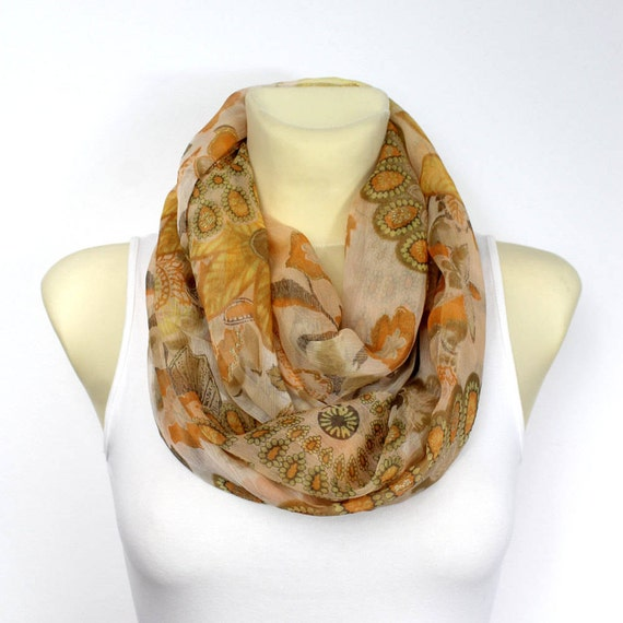 Pastel Silk Scarf Silk Infinity Scarf Silk Loop Scarf Silk Circle Scarf Floral Silk Scarf Summer Outdoors Summer Party Personalized Womens