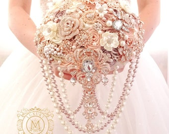 Cascading BROOCH BOUQUET. Champagne, Ivory, beige, cream broach boquet. Pearl Jeweled crystal flowers weding bridal bouquet by Memory