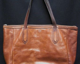 FOSSIL Issue No. 1954 Brown Leather Tote Shoulder Bag