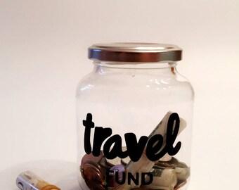 World map money jar travel fund 1 gallon glass jug with for Travel fund piggy bank