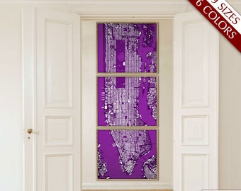 Manhattan map, Map of Manhattan, NY, 6 colors, 9 sizes up to 9ft tall XL Manhattan art map in 1 piece or 6 parts - Limited Edition of 100