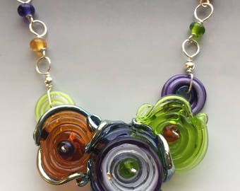 Octopus' Garden Necklace in Autumn Colors: handmade glass lampwork beads with sterling silver components