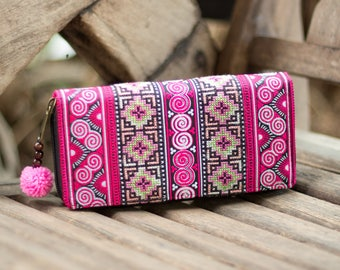 Ethnic Wallet for Women, Hill Tribe Hmong Embroidered Purse, Zip Wallet with Pom Pom, Fair Trade Purse for Women - WA301UVPIN