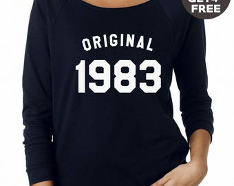 35th birthday sweatshirt 1983 shirt birthday tshirt tumblr shirt pullover sweatshirt women sweater men shirt present birthday funny gifts